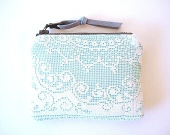Robin Egg Blue and White Vintage Lace  Zipper Small Coin Purse Bridal Party Gifts