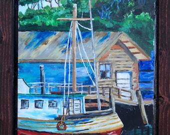 Boat - By Mike - Blue - Fort Bragg - Noyo Harbor - Americana - Original Acrylic Painting - Folk Art - Artwork - Hanging - Rustic Home Decor