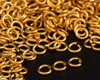 50 14kt Gold Plate Jump Rings - 18 gauge 5.1mm OD - 3.1mm ID