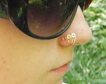 Swirly Nose Fakers in Gold, Silver and Copper - Nose Jewelry For Noses With Just Two Holes - Quantity 4