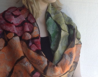 SALE - Nuno felted Scarf Shawl Wrap Textured Wool Silk Mosaic Tiffany European Art Nouveau in Autumn colors Unique Made to order