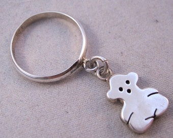 BIGGEST SALE of the Year Teddy Bear Sterling Silver Dangle Ring Size 5 1/2 Vintage Jewelry