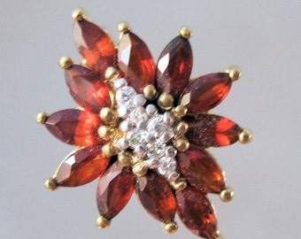 Edelweiss or Poinsettia Red Garnet & White Topaz Stick Pin Signed JC Vintage Jewelry Jewellery