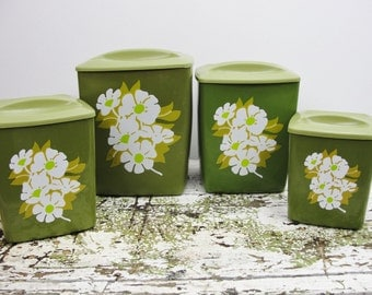 Vintage Avocado Green plastic Canister set
