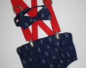 boy first birthday outfit, nautical 4th of july cake smash outfit, navy blue red, 1st birthday hat, suspenders, diaper cover, tie, july 4th