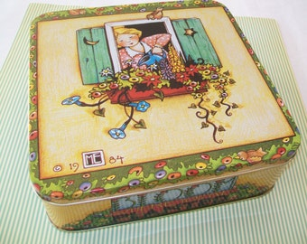 1980s Mary Englebreit Tin, Bloom Where You're Planted, 1986