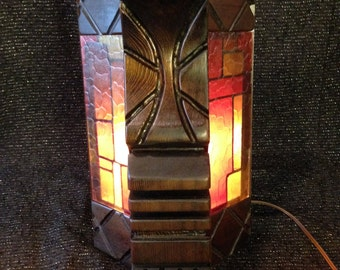 Custom witco style lamp light wood carved tiki wall sconce