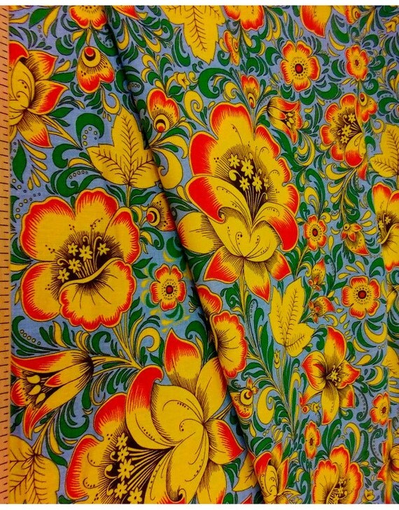 Floral fabric by the yard khokhloma russian vintage for Children s clothing fabric by the yard