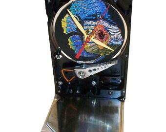 "Hard Drive Clock, Computer Parts ""Fish"" Dial. Got Animal Kids Clock, Kids Room Clock, Novelty Clock, Geek Kid Clock, Fish Clock?"