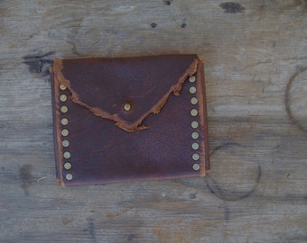 Brick Red Oiltan Pouch --  leather burning man wasteland weekend tribal steampunk huntress viking renaissance costume apocalyptic