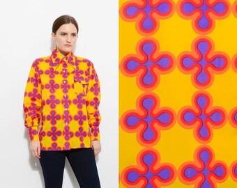 Vintage 70s BOLD Skyr Raincoat Nylon Plastic Shirt Club Kid MOD Print Collared Button Up Long Sleeve Top Large L