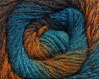 Magic Wool Deluxe Turquoise Blue Brown Gold Kuka 41087 Feltable Self-striping 100% Worsted Wool Yarn 100gr 218yd Felt Knit Crochet Weave