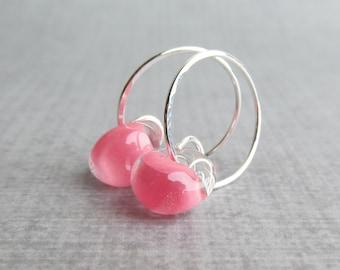 Petal Pink Hoop Earrings, Pink Lampwork Glass Earrings, Small Silver Wire Hoops, Pink Earrings, Pink Glass Hoops, Sterling Silver Hoops