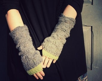 FREE SHIPPING With little drop of Green - hand knitted layered chunky long wrist warmers or mittens gray color
