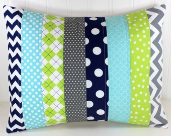 Pillow Cover, Boy Nursery Decor, Patchwork Pillow Cover, Accent Pillow, 12 x 16 Inches, Aqua Blue, Gray, Grey, Lime Green, Navy Blue