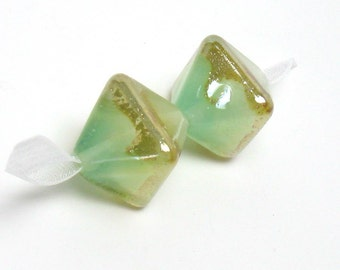 Lampwork beads, frosty mint, white and sea foam green glass beads, crystal shaped lampwork beads, earring beads, silver lustre