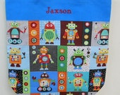 Embroidered tote bag, toy bag, personalized tote bag, kids tote bag,  Robot Canvas Tote bag (large) LBTB299 - RB