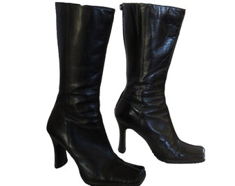 Vintage  1990s Aldo  Black  Leather Chunk Heel Mid Calf Boots  SIZE 5 US 35 Euro Made in Brazil