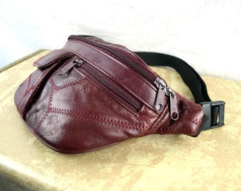 Vintage 80s Brown Leather Fanny Pack