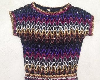 Sparkle Sequin Top Rainbow Gradient Shirt Vintage