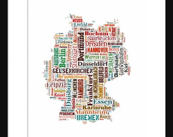 Germany Map - Typography Color Map Poster Print Text Map