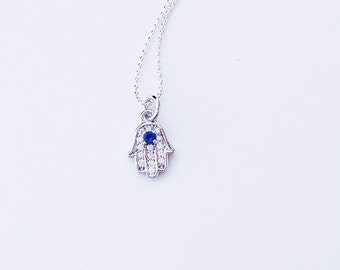 Sterling Silver and Rhinestone Crystal Hamsa Charm Necklace