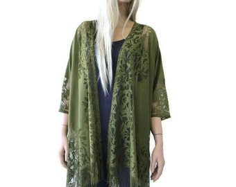 Olive green Kimono-Bohemian Lace Kimono cardigan-Army greenFringe kimono/Ruana -Oversize kimono-Only one