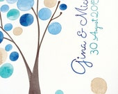 Watercolor Guest Book Album with Tree Branch - Modern minimalist guestbook album with watercolor painted hardcovers
