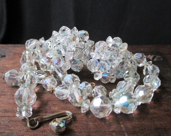 """Vintage Aurora Borealis Jewelry Set,  Faceted Crystals, Estate Jewelry, Clear Crystal Beads, 1960s, costume jewelry, 16"""" strand beads"""