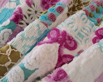 """Vintage Chenille Baby quilt made in shades of aqua, lavender, olive green and white - crib size 30"""" x 50"""" - #900-20"""