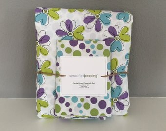 Girls Reversible Twin Duvet Cover and pillowcase with purple flowers and polka dots - twin size