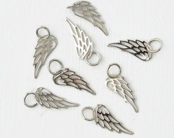 Small Sterling Silver Angel Wing Charm / Delicate Angel Wing Pendant / 17 mm