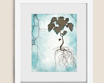 Blue and Brown Wall Decor Tree Print, Tree Roots, Aqua Blue Wall Art Tree and Roots, 11 x 14 Tree Wall Art Print, Living Room Art  (299)