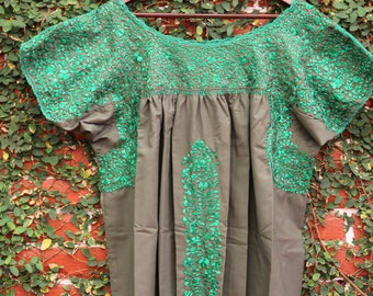 Olive with green  Embrodery Mexican Wedding Dress