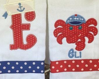 Crab burpcloth set