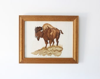 Vintage Framed Bison Cross-stitch Artwork