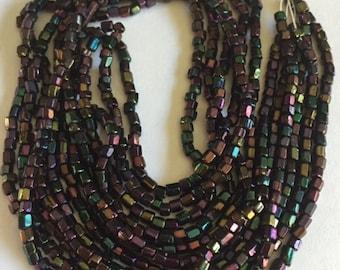 Vintage Czech Cut Glass Beads - Purple Iris - 3 Strands