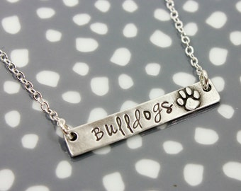 Brave Necklace, Blessed Mom Necklace,  Pet Necklace, Silver Pewter Thick Bar Necklace, Mom Jewelry, Arrow Bar Necklace, Paw Print Necklace