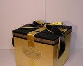 Gold and Black Wedding Card Box Gift Card Box Money Box  Holder--Customize your color