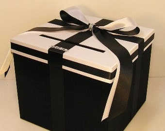 Wedding Card Box Black and White Gift Card Box Money Box Holder--Customize your color(10x10x9)