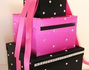 Wedding Card Box Black and Hot pink/Shocking pink Gift Card Box Money Box  Holder--Customize in your color/made to order
