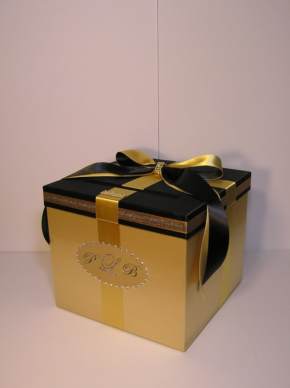 Gold and Black Wedding Card Box Gift Card Box Money Box Holder ...