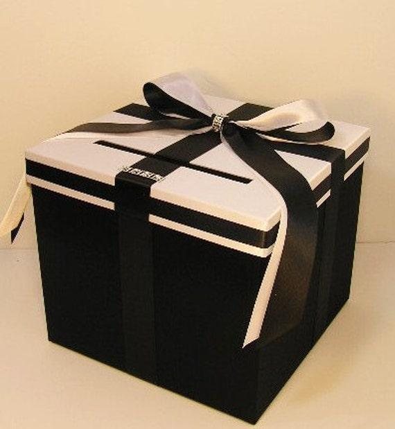 Black And White Wedding Gift Card Box : Wedding Card Box Black and White Gift Card Box Money Box Holder ...