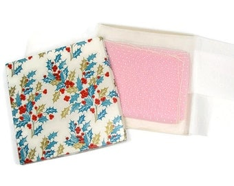 Pink and White Dotted Swiss Scarf in Vintage Christmas Gift Box