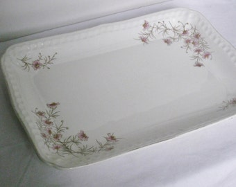 Large Rectangular Platter, Antique John Maddock and Sons Semi Porcelain China Shabby Cottage Pink Flowers, Vintage Serving Plate