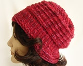 Woman's Red Knit Hat Red and Rose Cloche Hat Women's Warm Winter Hat Rose and Red Hand Knit Hat Red Winter Knit Hat Girl's Knit Hat Red Hat