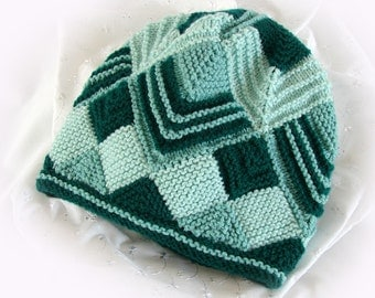 Teal and Green Hat Woman's Module Knit Hat Women's Winter Hat Slouchy Knit Hat Green Teal Zig Zag Knit Winter Hat Girl's Knit Winter Hat