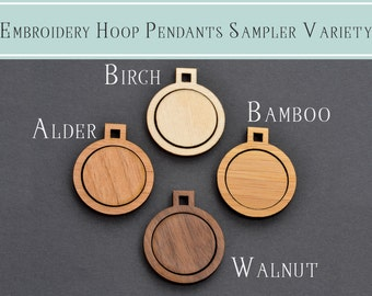 "SAMPLER of 4 - 1"" Embroidery Hoop Small Circle Pendants Square Connectors 25mm Laser Cut Wood Birch Alder Walnut Bamboo EHPCIR-S-25-4"