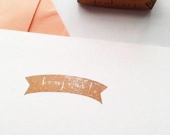 Bonjour Banner Hello Stamp