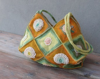 Colorful Floral Bag, Hand Crocheted Ombré Flower Bag in Orange and Green tones